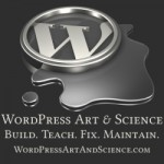 3d illustration of a silver Wordpress logo sitting in a puddle of silver liquid on a gray reflective surface